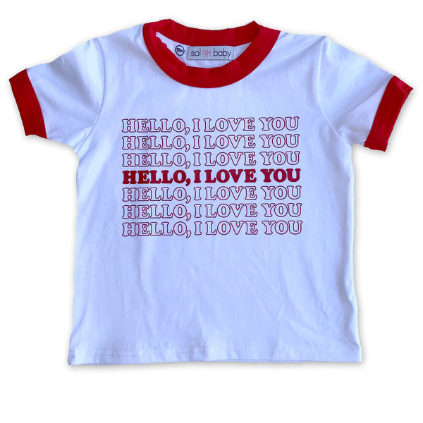 Hello, I love You Red Ringer Tee