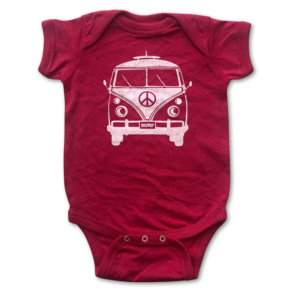 Sol Baby Peace Surf Bus Hot Pink Bodysuit