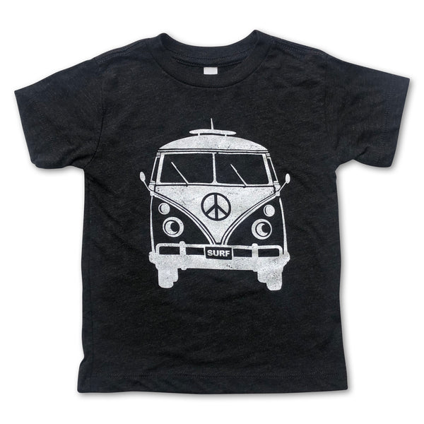 Sol Baby Peace Surf Bus Smoke Black Tee