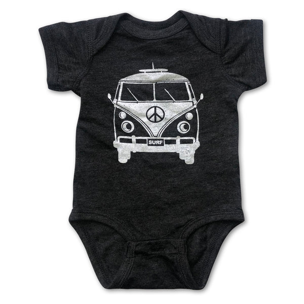 Sol Baby Peace Surf Bus Vintage Smoke Black Bodysuit