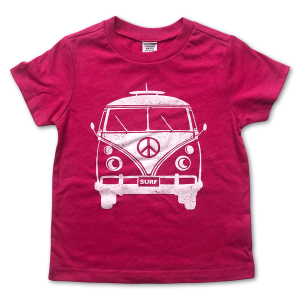 Sol Baby Peace Surf Bus Hot Pink Tee