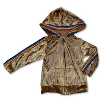 Sol Baby Gold Crushed Velvet Rainbow Trim Zip Hoodie Jacket