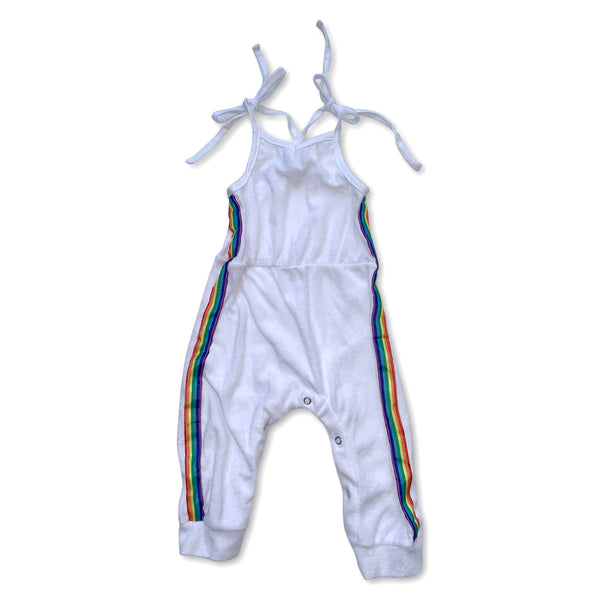 Sol Baby White Terry Rainbow Trim Jumpsuit