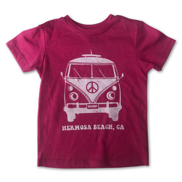 Sol Baby Hermosa Beach Peace Surf Bus Hot Pink Tee