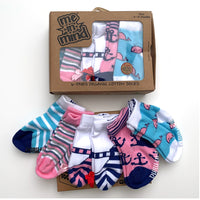 Me in Mind Girls Nautical Box of 6 Pair Infant Socks
