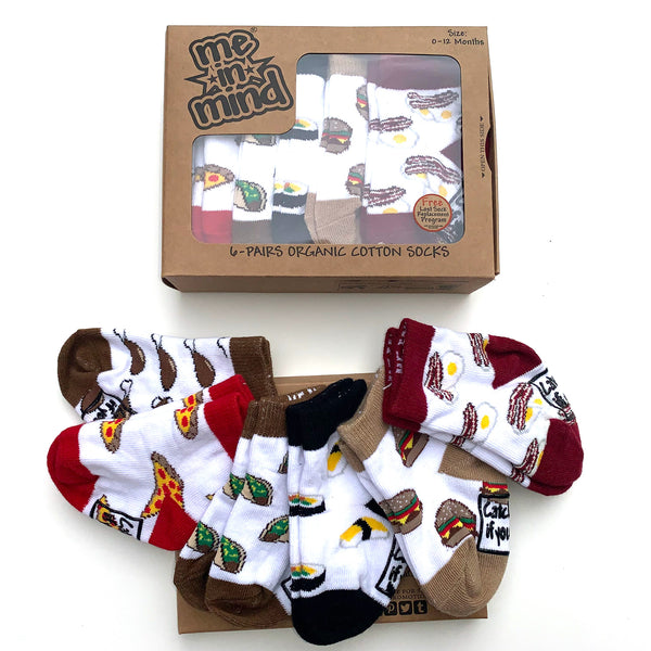 Me in Mind Let's Eat Box of 6 Pair Infant Socks