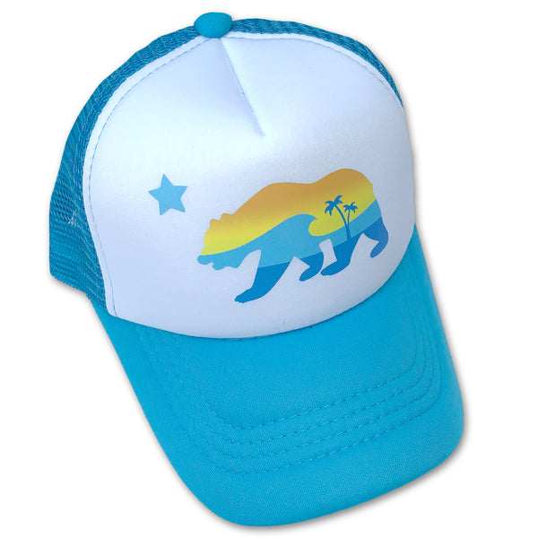 Sol Baby California Bear Aqua Trucker Hat