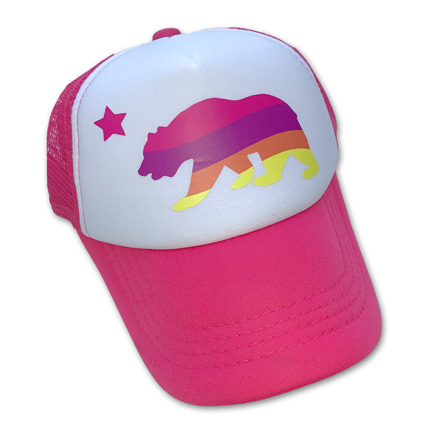 Sol Baby California Bear Striped Pink Trucker Hat
