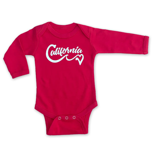 Sol Baby California Love Wave Red Long Sleeve Bodysuit