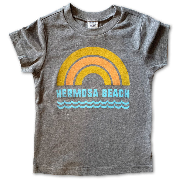 Sol Baby Hermosa Beach Rainbow Waves Gray Tee