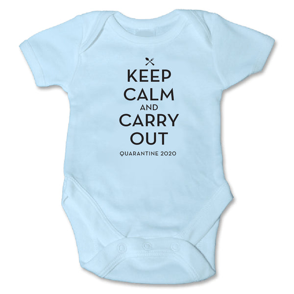 Keep Calm & Carry Out Blue Bodysuit