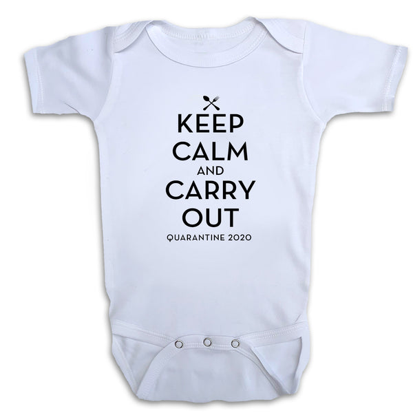 Keep Calm & Carry Out White Bodysuit