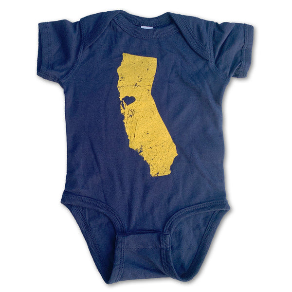 Sol Baby Northern California Love Short sleeve Navy Blue Bodysuit