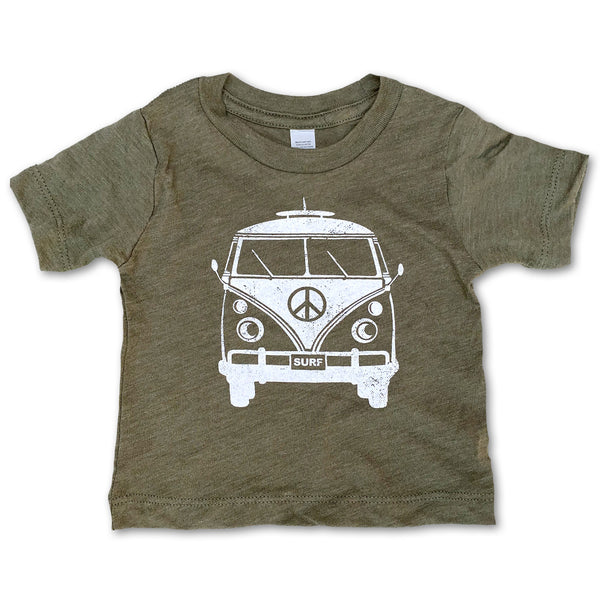 Sol Baby Peace Surf Bus Olive Tee