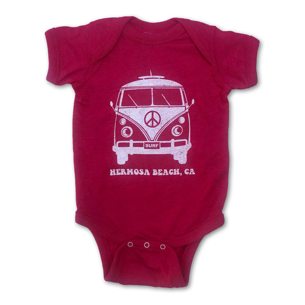 Sol Baby Hermosa Beach Peace Surf Bus Hot Pink Bodysuit