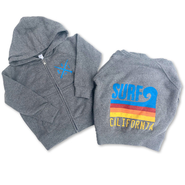 Sol Baby Surf California Wave Gray Fleece Zip Up Hoodie