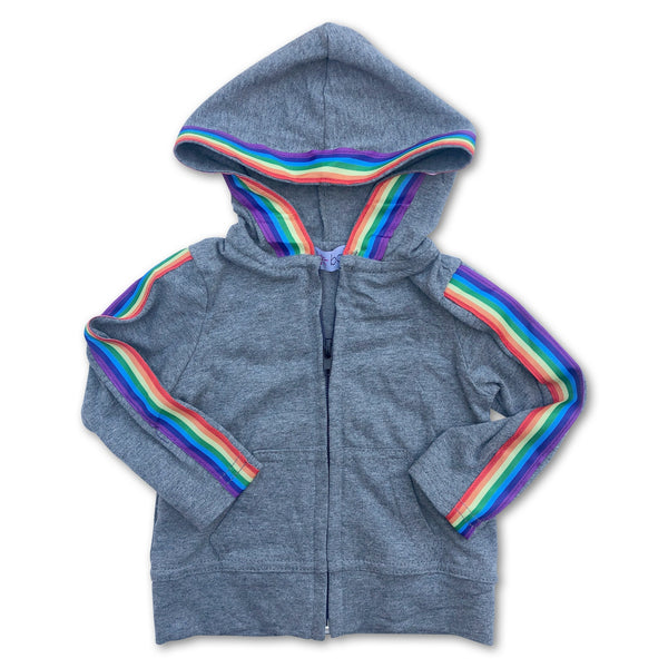 Sol Baby Gray Heather Rainbow Trim Hoodie