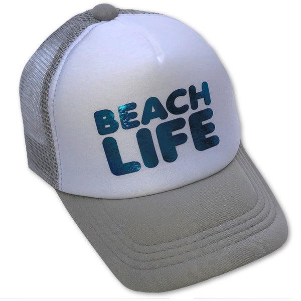 Sol Baby Blue Foil Beach Life Gray Trucker Hat