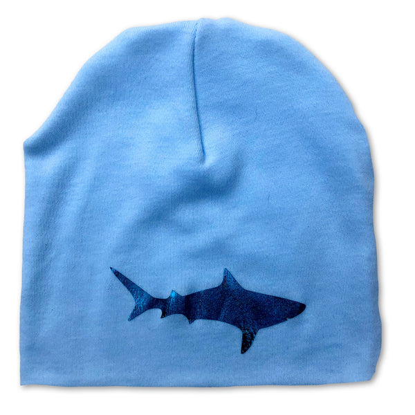 Blue Foil Shark Infant Baby Blue Beanie