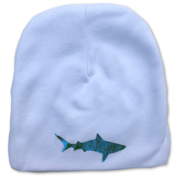 Blue Foil Shark Infant Baby White Beanie