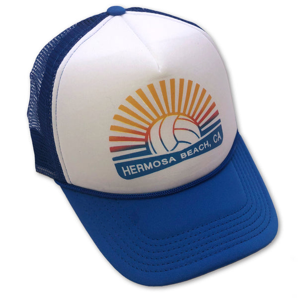 Sol Baby Hermosa Beach Blue Volleyball Burst Trucker Hat