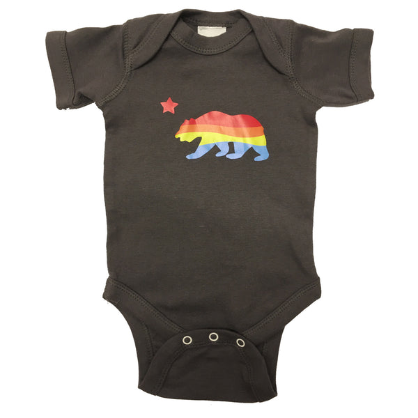 Sol Baby California Bear Charcoal Bodysuit