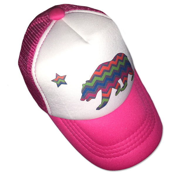 Sol Baby California Bear Chevron Stripe Trucker Hat