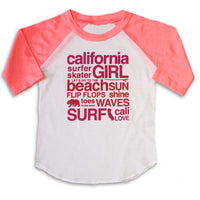 Sol Baby California Girl Words Flamingo Coral Raglan Tee
