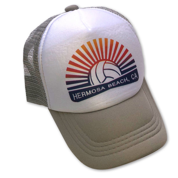 Sol Baby Hermosa Beach Gray Volleyball Burst Trucker Hat