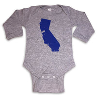 Sol Baby Northern California Love Longsleeve Heather Grey Bodysuit