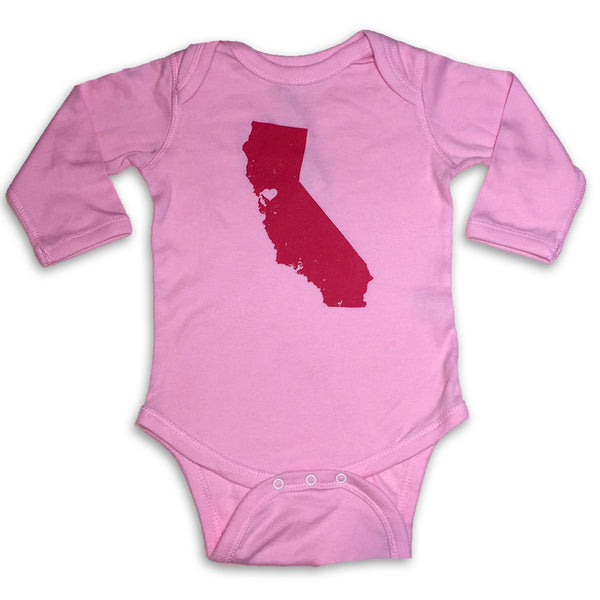 Sol Baby Northern California Love Longsleeve Heather Pink Bodysuit