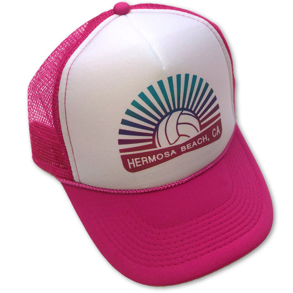 Sol Baby Hermosa Beach Pink Volleyball Burst Trucker Hat