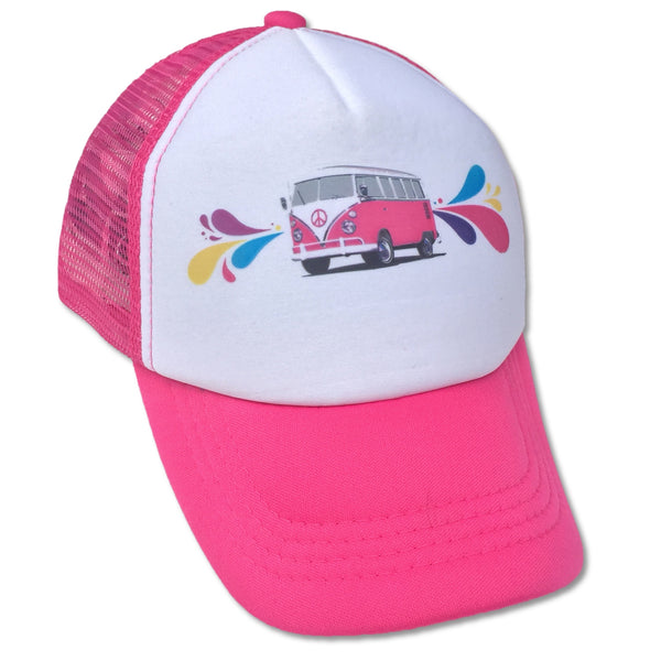 Sol Baby Pink Splash Surf Bus Trucker Hat