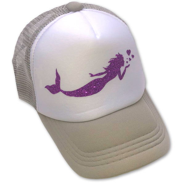 Sol Baby Purple Glitter Mermaid Gray Trucker Hat