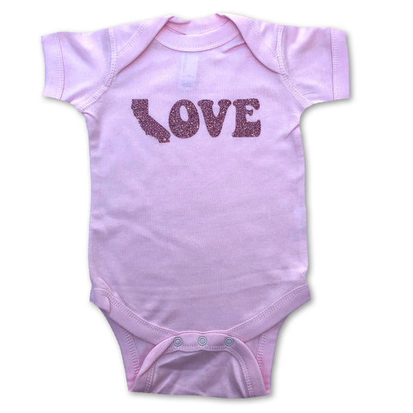 California Love Rose Gold Sparkle Glitter Pink Bodysuit