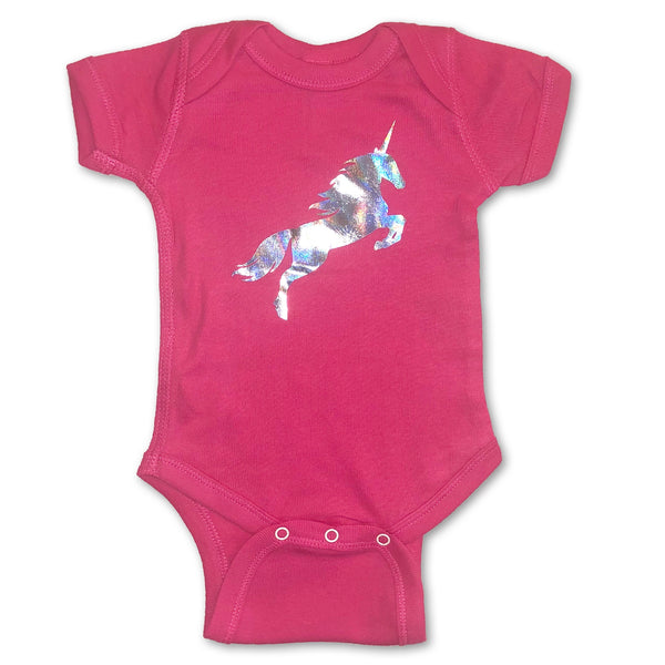 Shiny Holographic Unicorn Hot Pink Bodysuit