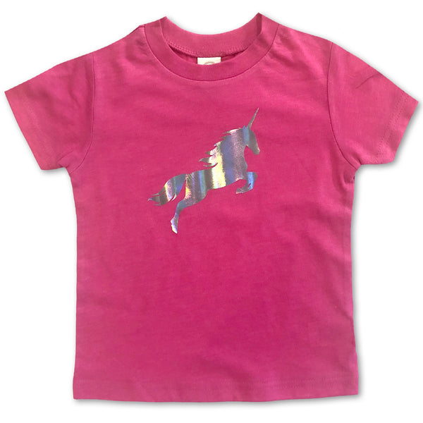 Shiny Holographic Unicorn Hot Pink Toddler Tee
