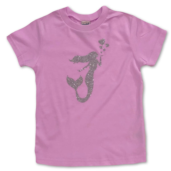 Silver Glitter Sparkle Mermaid Toddler Girls Pink Tee