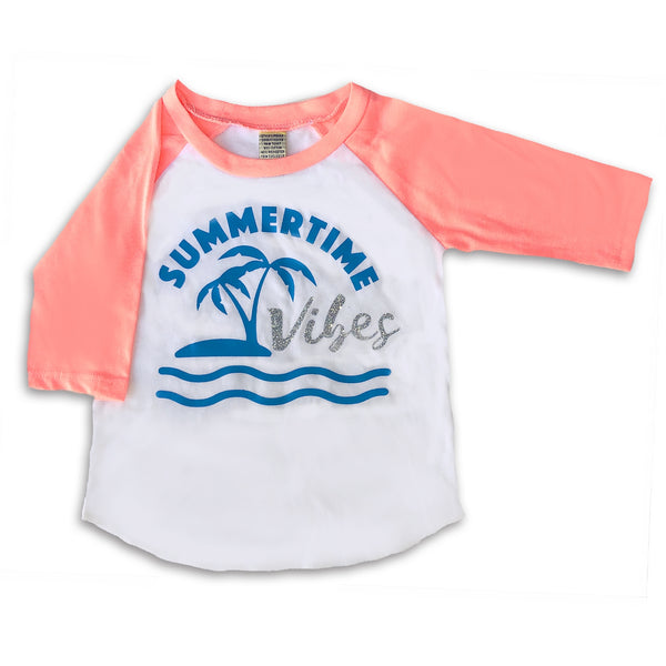 Sol Baby Summertime Vibes Infant/Toddler Flamingo Coral Raglan Tee