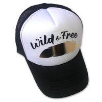 Sol Baby Wild & Free Gold Foil Feather Trucker Hat