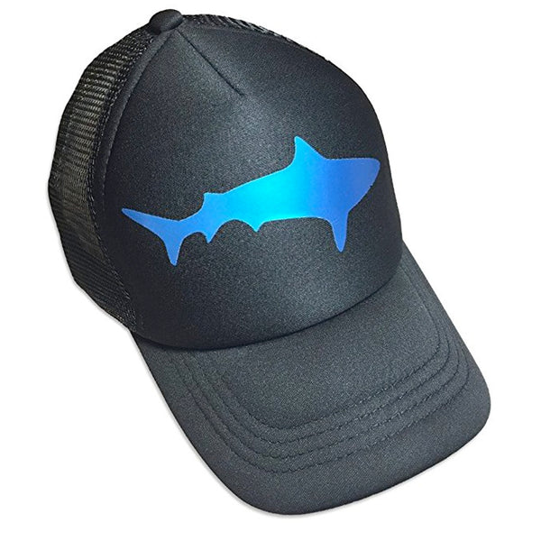 Sol Baby Blue Foil Shark Black Trucker Hat