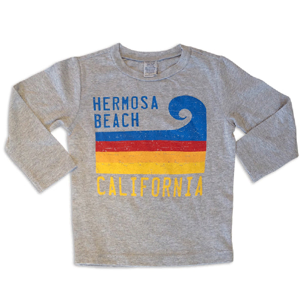 Sol Baby Hermosa Beach California Stripe Wave Long Sleeve Grey Tee