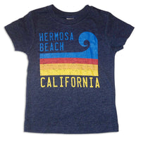 Sol Baby Hermosa Beach California Stripe Wave Short Sleeve Navy Tee