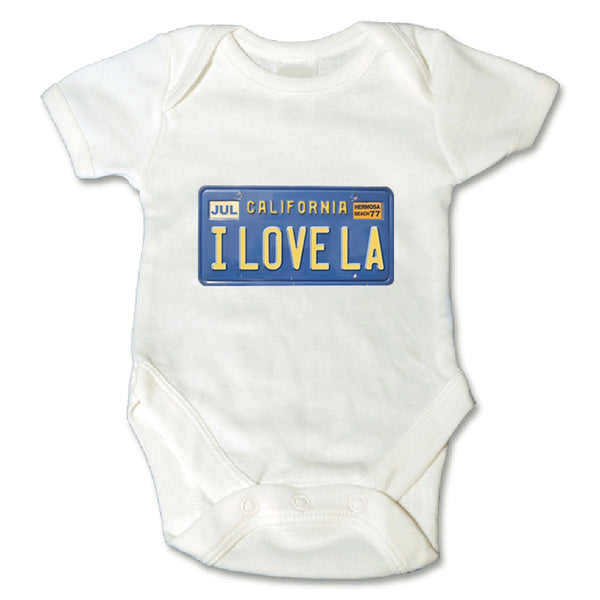 Sol Baby I LOVE LA California License Plate Bodysuit