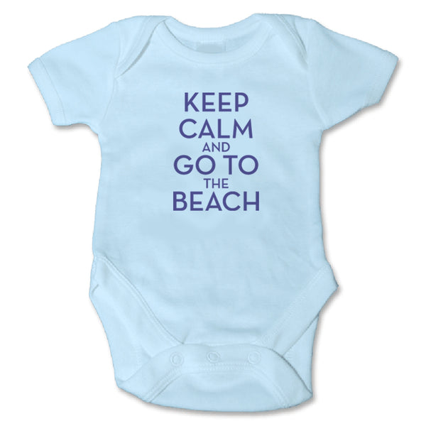 Sol Baby Keep Calm and Go To The Beach Blue Bodysuit