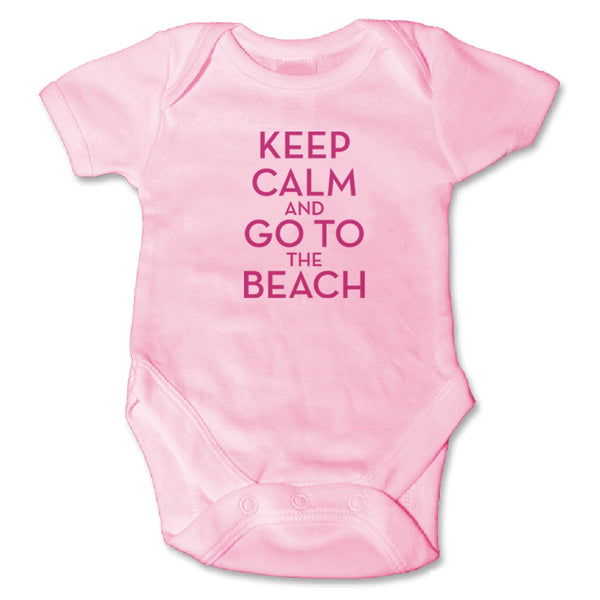 Sol Baby Keep Calm and Go To The Beach Pink Bodysuit
