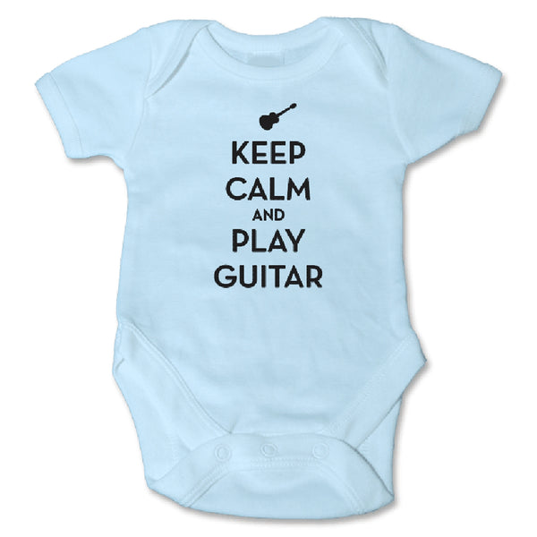 Sol Baby Keep Calm and Play Guitar Blue Bodysuit
