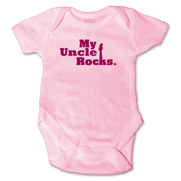 Sol Baby Original 'My Uncle Rocks' Pink Bodysuit