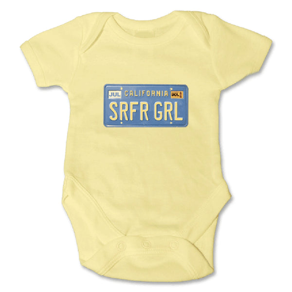 Sol Baby Original SRFRGRL California License Plate Onesie