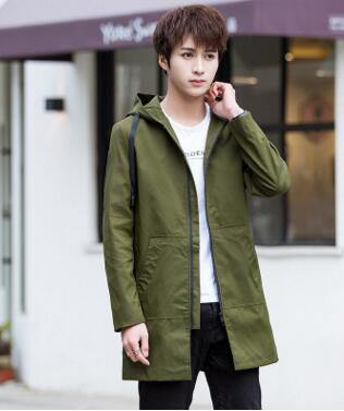 Winter Jacket men hooded Slim long Jacket coat